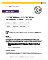 CERTIFICATION/ RECERTIFICATION PROCESSING DURING COVID-19 thumbnail